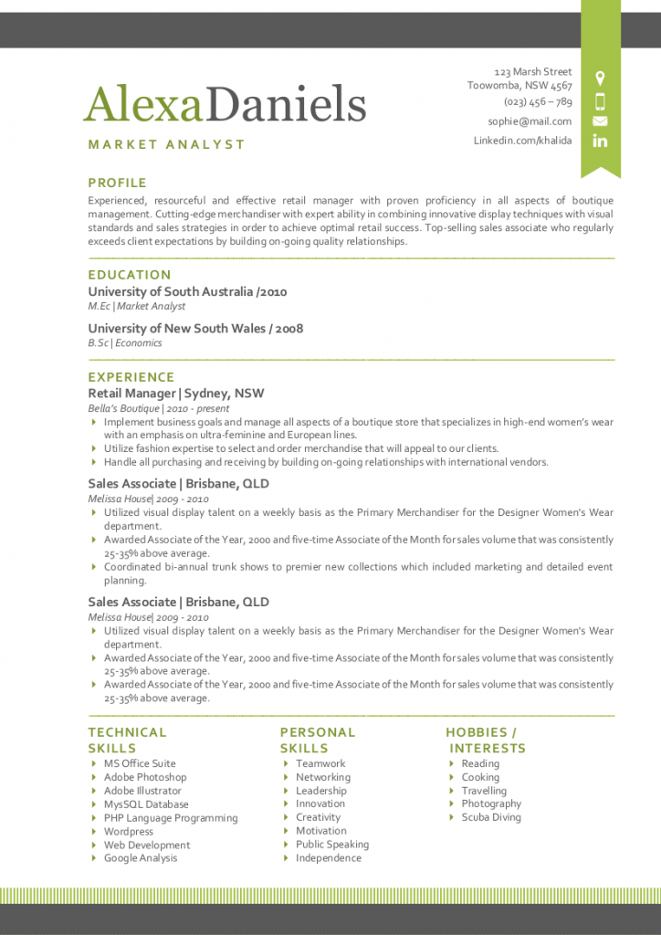 Lime Ribbon Modern Resume Template