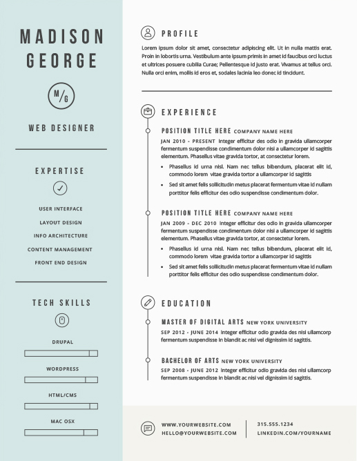Modern pastel resume with sidebar