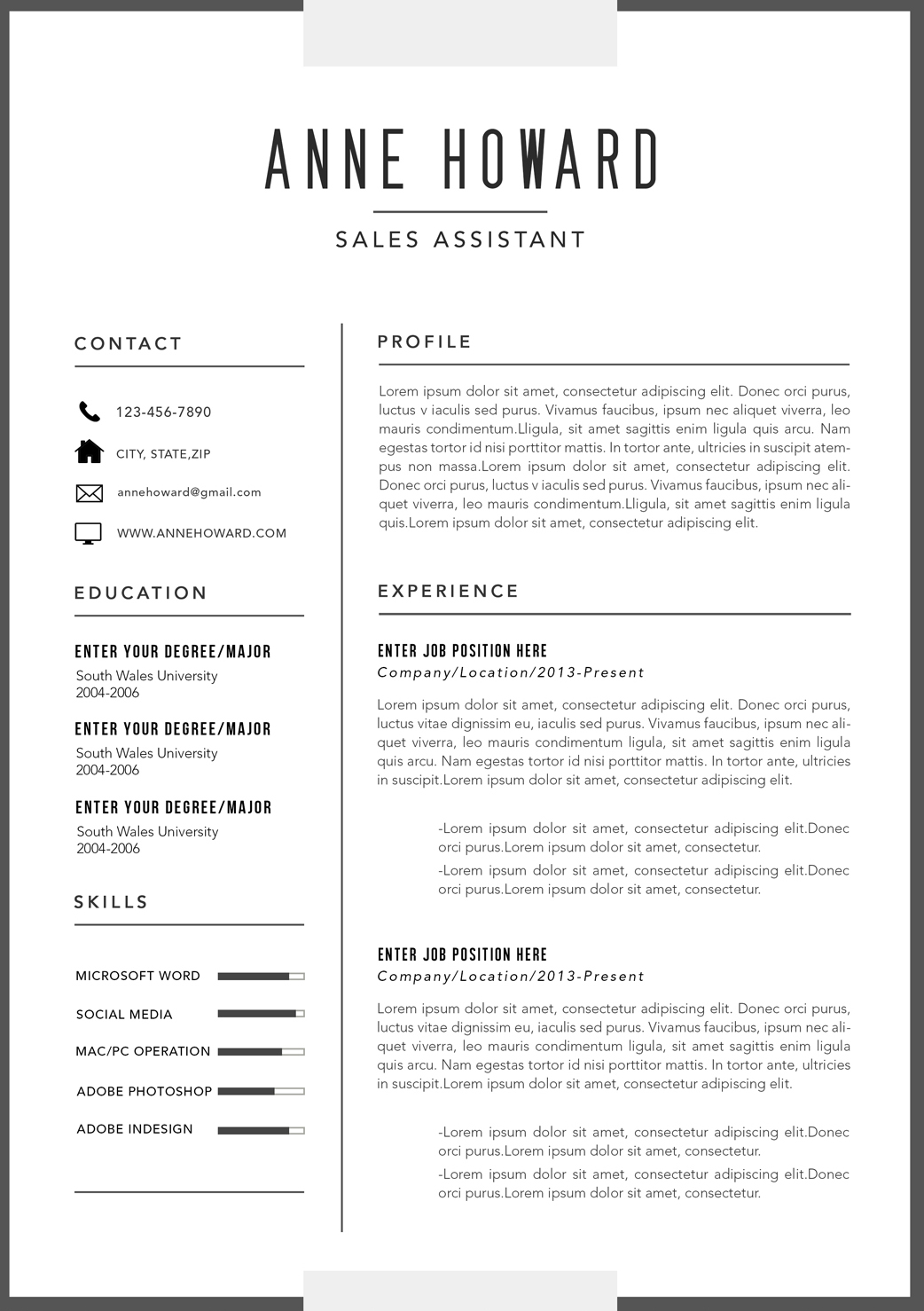 Modern business resume template