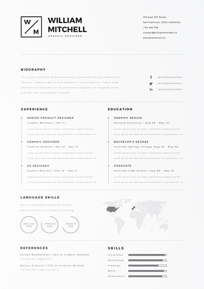Free resume template for the world traveler