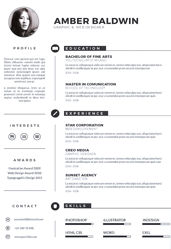 free modern black white classy resume template 1 - Awesome iconic resume template